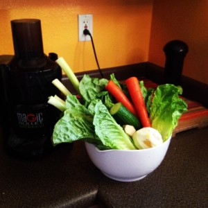 At home...Celery, Spinach, Romaine, Carrots, Cucumber, Lemon & Ginger